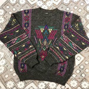 Vintage Steffner wool alpaca graphic print sweater